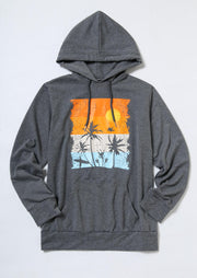 Beach Sunset Tree Kangaroo Pocket Drawstring Hoodie - Gray