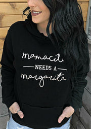 Mamacita Needs A Margarita Kangaroo Pocket Hoodie - Black