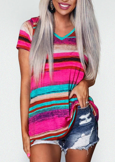Colorful Serape Striped V-Neck T-Shirt Tee