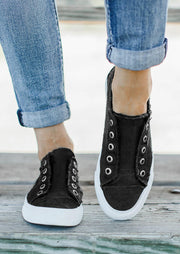 Canvas Slip On Round Toe Flat Sneakers - Black