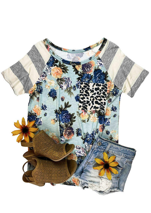 Floral Leopard Pocket Striped T-Shirt Tee