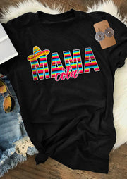Presale - Hat Colorful Serape Striped Mamacita T-Shirt Tee - Black