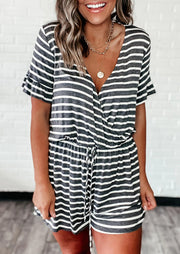Presale - Striped Splicing Ruffled Drawstring Romper without Necklace