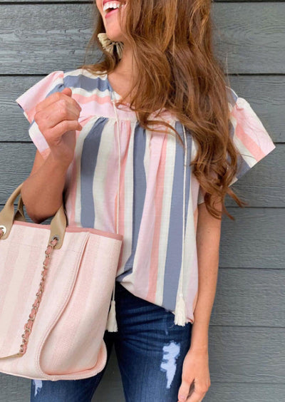 Colorful Striped Ruffled Drawstring Tassel Blouse