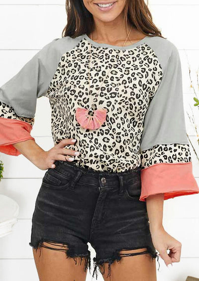 Leopard Color Block Splicing Blouse without Necklace