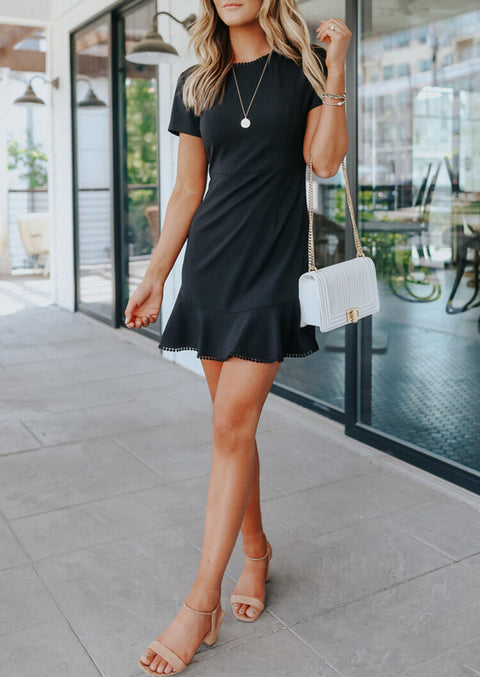 Presale - Lace Ruffled Mini Dress without Necklace - Black