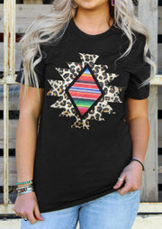 Leopard Geometric Aztec Serape Striped T-Shirt Tee - Black
