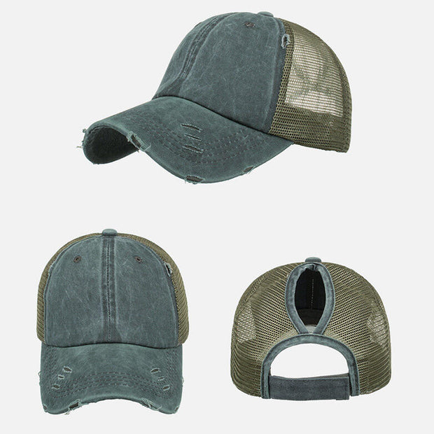 Mesh Hollow Out Ripped Washed Baseball Cap