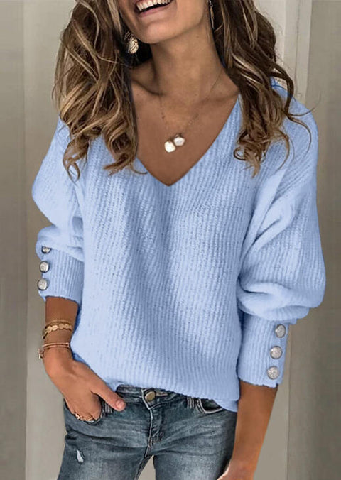 Knitted V-Neck Sweater without Necklace - Blue
