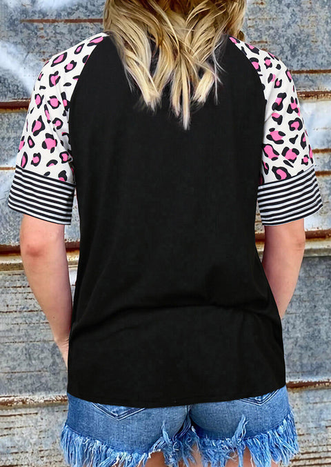 Leopard Striped Splicing T-Shirt Tee - Black