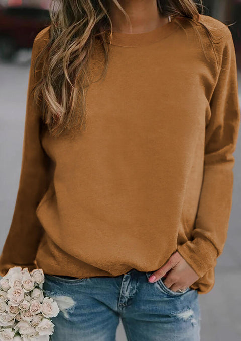 Long Sleeve O-Neck Sweatshirt - Brown