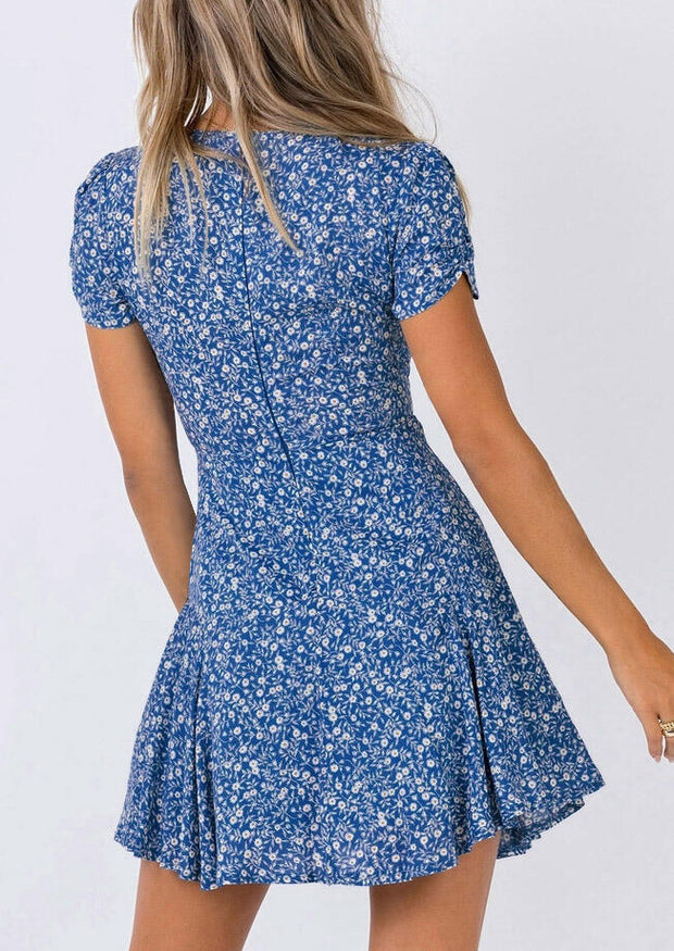 Floral Slit Zipper Mini Dress - Blue
