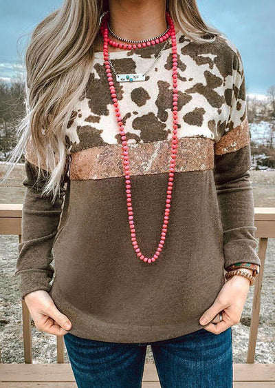 Cow Color Sequined Mesh Splicing Blouse without Necklace - Coffee