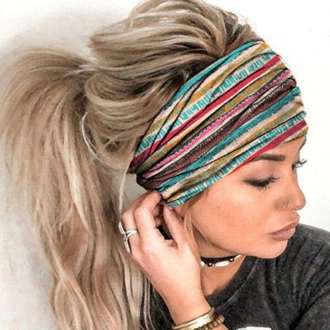 Serape Striped Floral Sun Moon Star Yoga Sports Headband