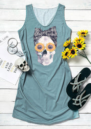 Leopard Skull Sunflower Mini Dress - Cyan