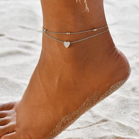 2Pcs Beading Heart Beach Anklet Set