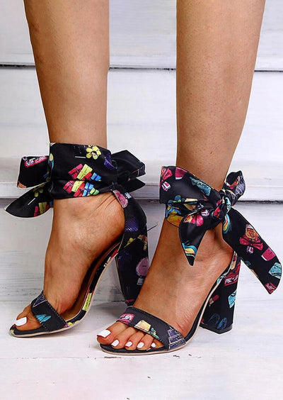 Floral Tie Round Toe Ankle Strap High-Heeled Sandals