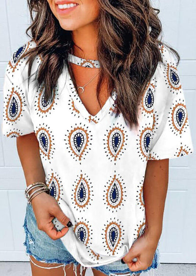 Paisley Cut Out V-Neck Blouse - White
