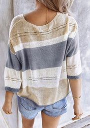 Color Block Cut Out Knitted Sweater - Gray