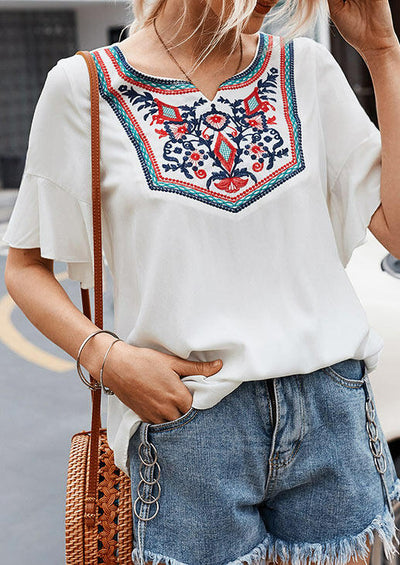 Bohemian Embroidered Floral Blouse without Necklace - White