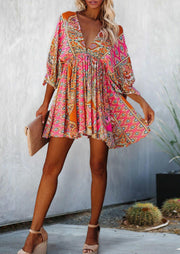 Vintage Floral Mandala Mini Dress