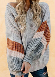 Color Block V-Neck Knitted Sweater - Gray