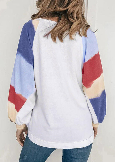 Color Block Striped Splicing Long Sleeve T-Shirt Tee - White