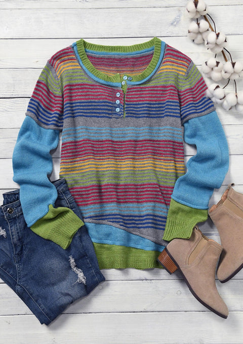 Serape Striped Color Block Button Knitted Sweater - Blue