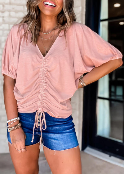 Presale - Ruffled Drawstring Elastic Cuff V-Neck Blouse - Pink