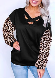 Leopard Splicing Criss-Cross Blouse - Black