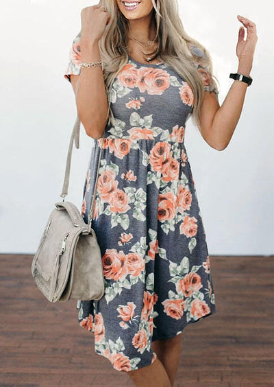 Presale - Floral Ruffled O-Neck Casual Dress - Dark Grey