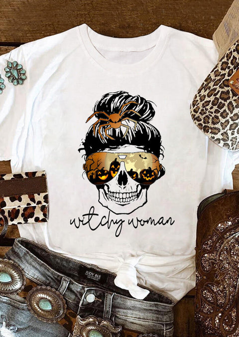Halloween Skull Pumpkin Spider Witchy Woman T-Shirt Tee - White