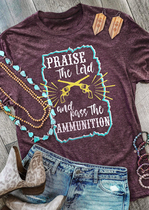 Western Praise The Lord Graphic T-Shirt Tee - Cameo Brown