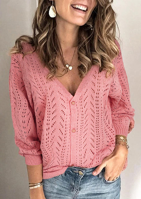 Hollow Out Button V-Neck Knitted Sweater - Pink