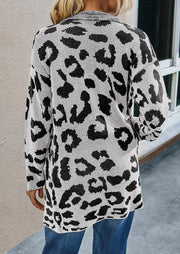 Leopard Pocket Lapel Knitted Cardigan