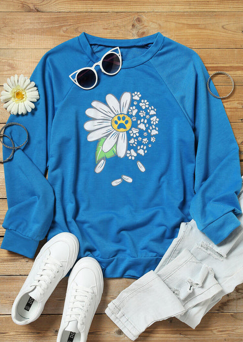 Daisy Floral Dog Paw Sweatshirt - Blue