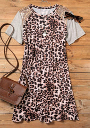Leopard Sequined Splicing Mini Dress