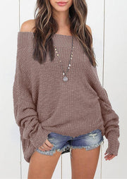 Knitted Off Shoulder Long Sleeve Sweater - LightCoffee