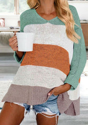 Color Block Striped Slit Knitted Sweater