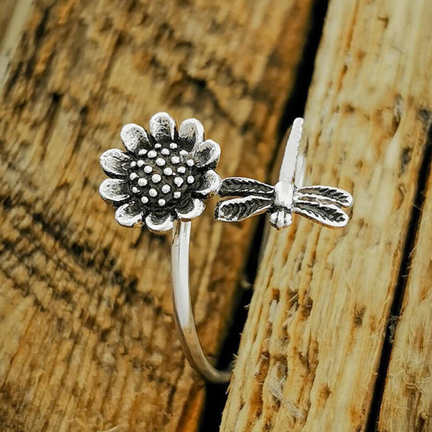 Sunflower Dragonfly Open Adjustable Alloy Ring