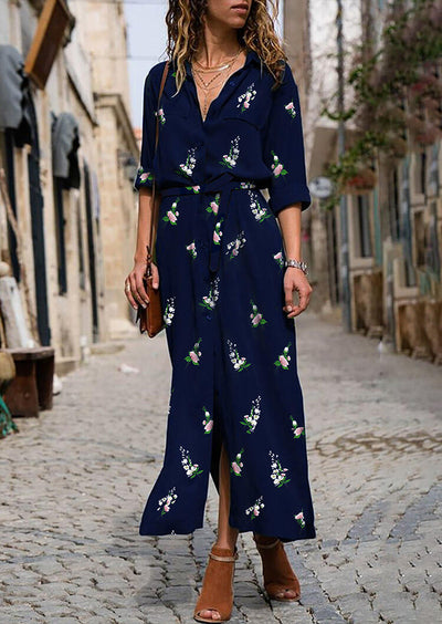 Floral Button Slit Maxi Dress - Navy Blue