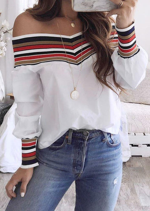 Serape Striped Splicing Off Shoulder Blouse - White