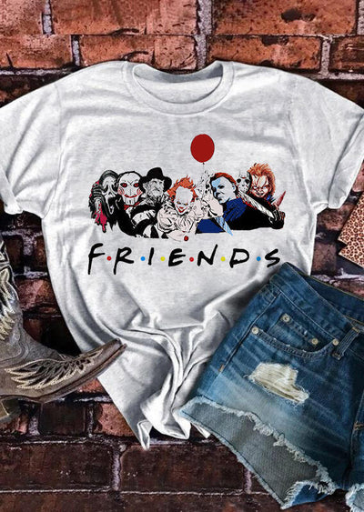 Halloween The PasyCho Bunch Friends O-Neck T-Shirt Tee - Gray