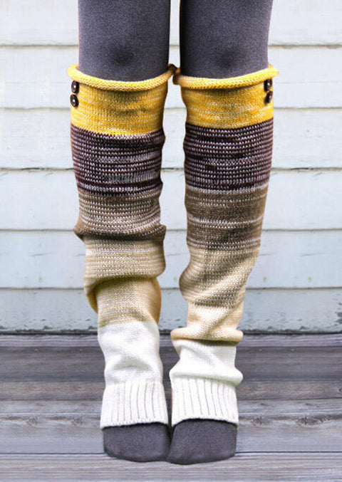 Color Block Over Knee Warm Knitted Socks