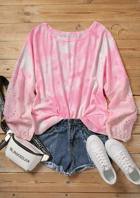 Tie Dye Hollow Out Splicing Blouse - Pink
