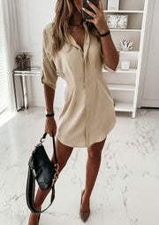 Ruffled Button Tab-Sleeve Mini Dress - Khaki