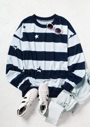 Star Striped Splicing Sweatshirt - Navy Blue