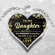 Mom To My Daughter Heart Pendant Necklace