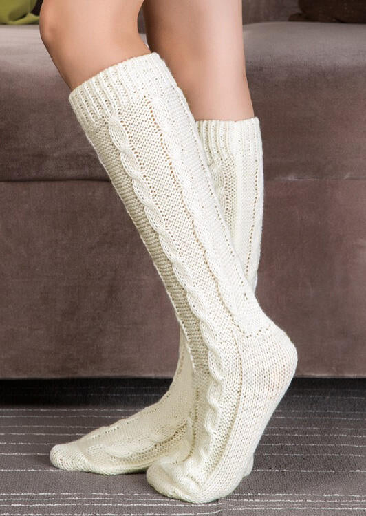 Cable Knitted Warm Thigh-High Boot Socks