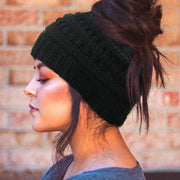 Winter Thick Knitted Ponytail Beanie Hat